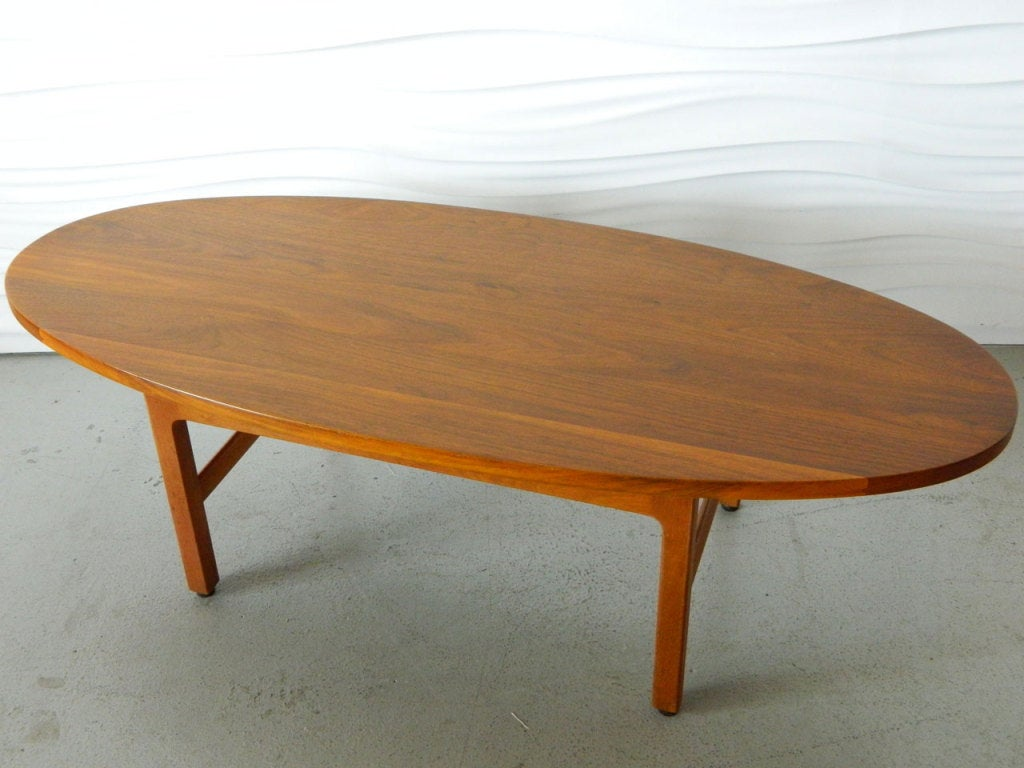 American Modern Oval Solid Walnut Coffee Table At 1stdibs