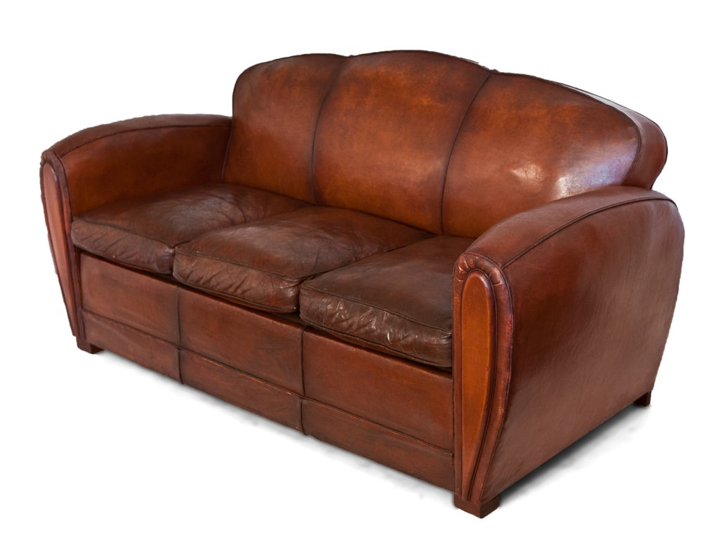 french art deco lambskin leather sofa at 1stdibs. Black Bedroom Furniture Sets. Home Design Ideas