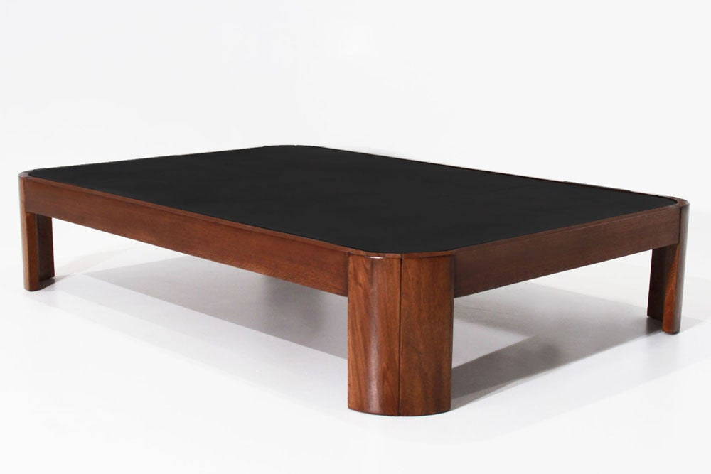 Rounded rectangular wood coffee table with black leather top at 1stdibs Square leather coffee table