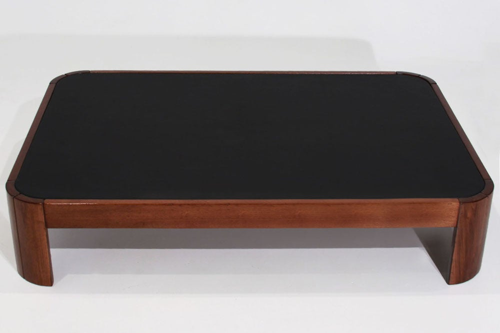 Rounded Rectangular Wood Coffee Table With Black Leather Top At 1stdibs