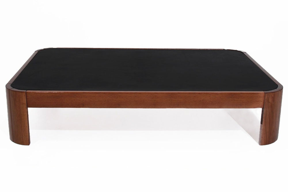 Rounded Rectangular Wood Coffee Table With Black Leather Top In Good Condition For Hollywood