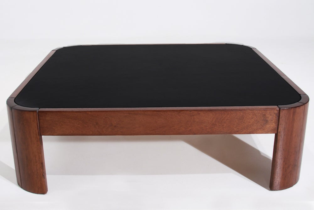 Rounded Square Wood Coffee Table With Black Leather Top At 1stdibs