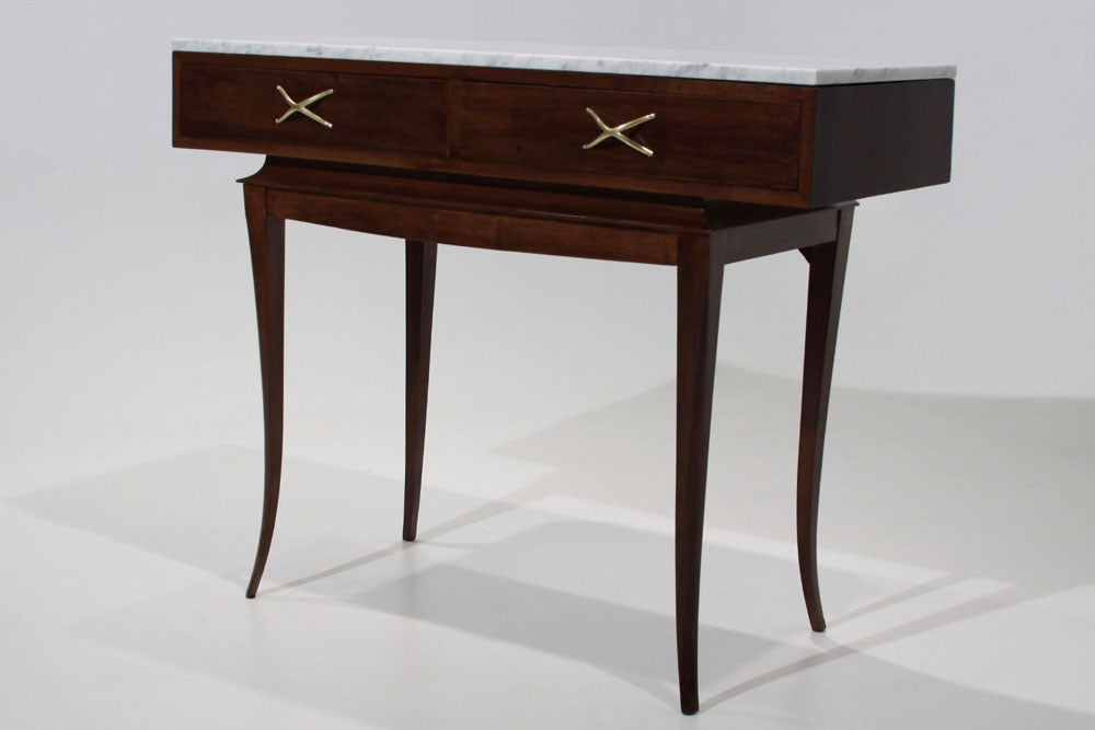 Sculptural Brazilian Freijo wood And Carrera marble desk/console table 2