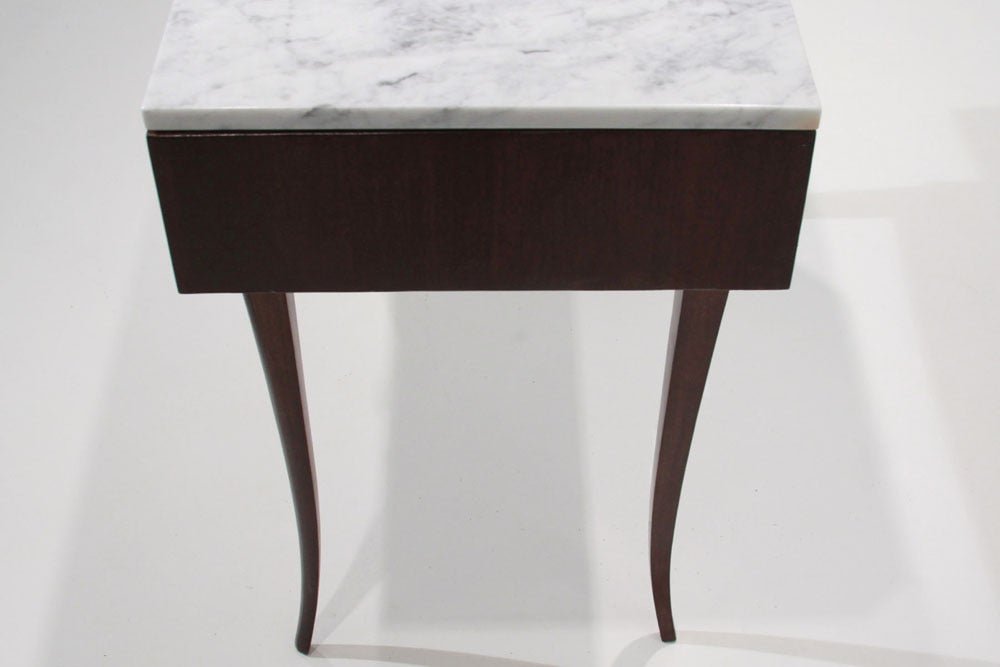 Sculptural Brazilian Freijo wood And Carrera marble desk/console table 4