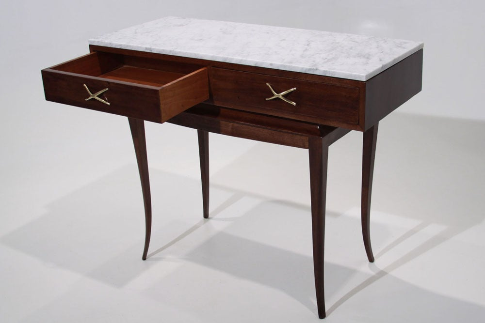 Sculptural Brazilian Freijo wood And Carrera marble desk/console table 5