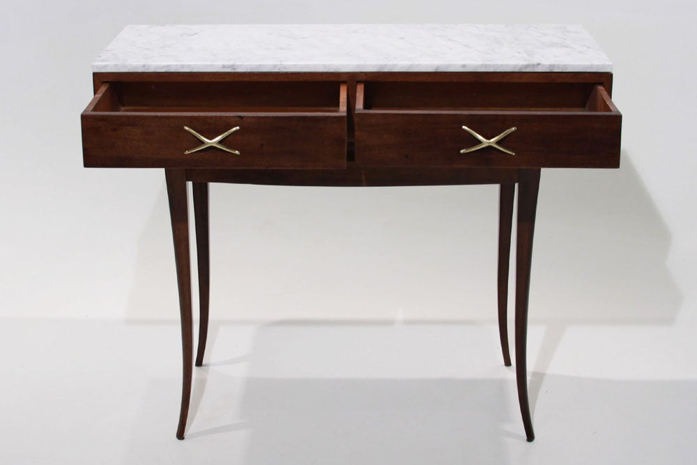Sculptural Brazilian Freijo wood And Carrera marble desk/console table 6