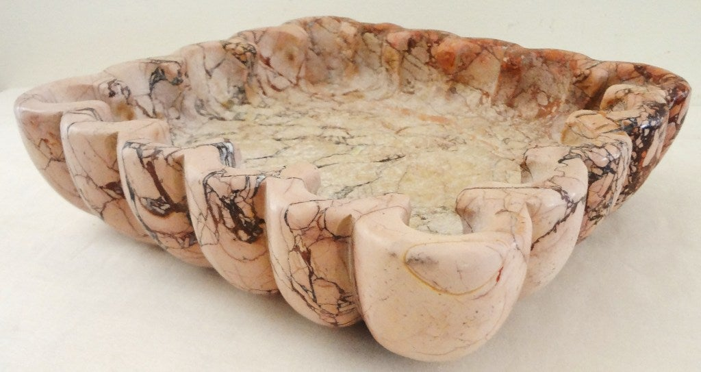 Sublime 1940's French Carved Rouge Marble Bowl 3