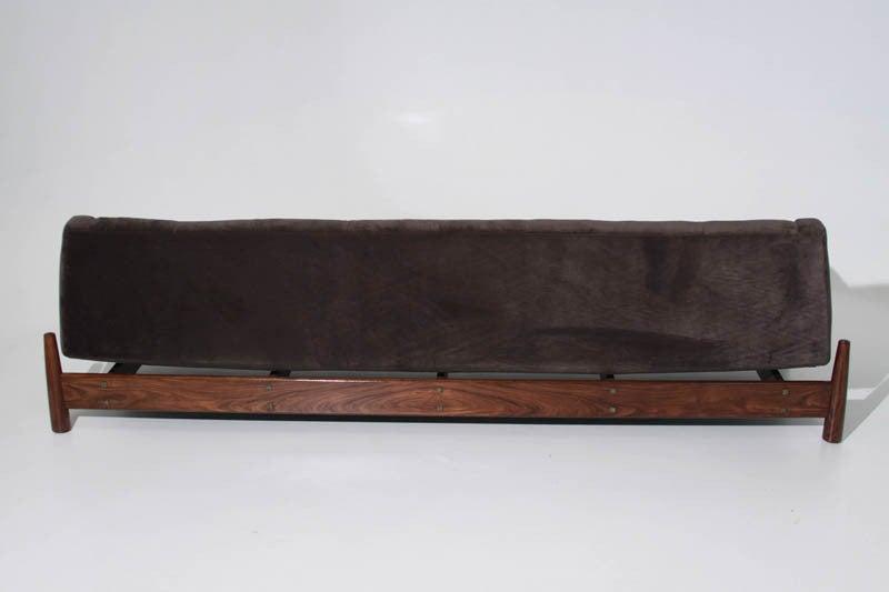 Deep Grey Mohair And Solid Caviuna Sofa By Jean Gillon At
