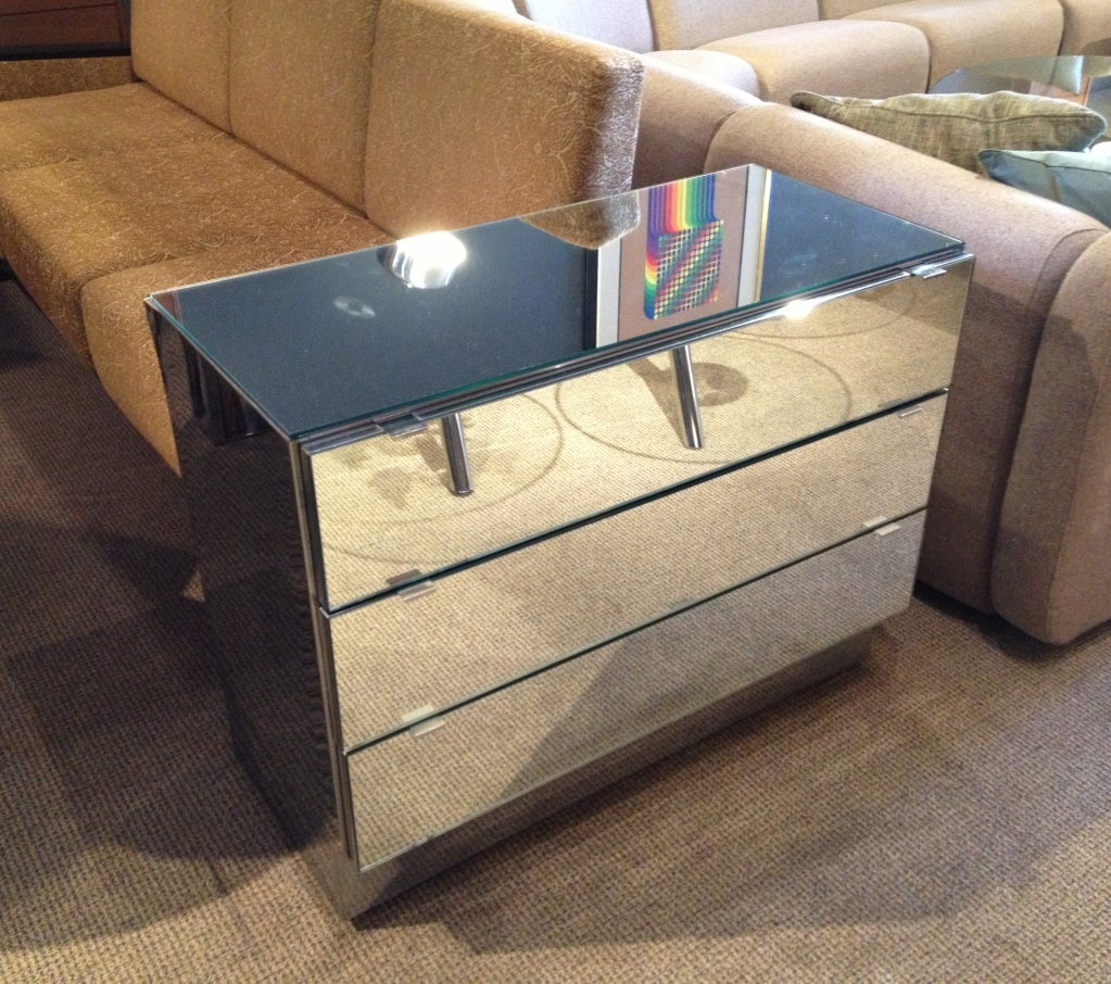 American Pair Of Chrome And Mirror Dressers Attb To Ello Furniture For Sale