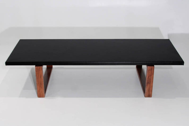 Rectangular Leather Wrapped Coffee Table With Solid Walnut