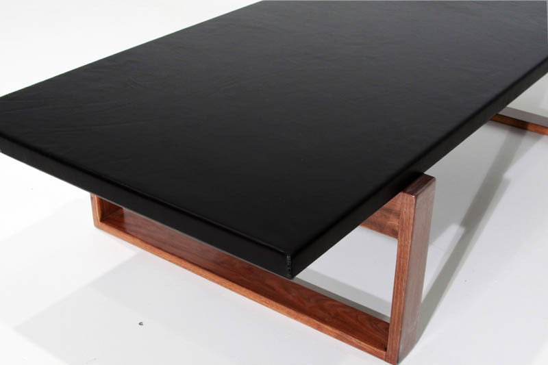 Vintage leather wrapped coffee table with solid walnut base for sale at 1stdibs Square leather coffee table