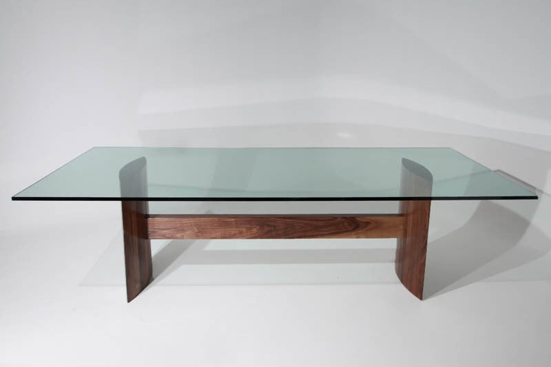 Thomas Hayes Studio Stacked Laminate Walnut Dining Table With Large Glass Top