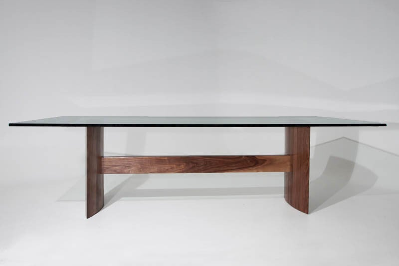 Thomas Hayes Studio Stacked Laminate Walnut Dining Table With Large Glass Top At 1stdibs