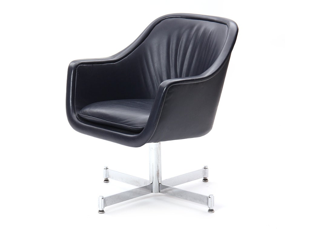 American Leather Desk Chair by Ward Bennett For Sale