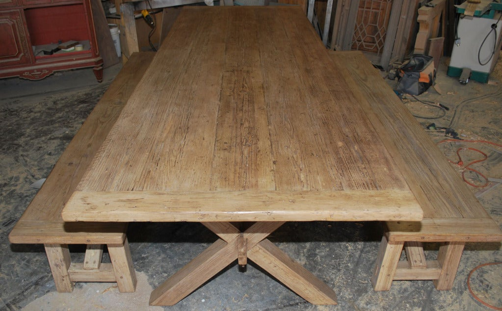 X-Trestle Table with Matching Benches, Custom Made by Petersen Antiques For Sale 3