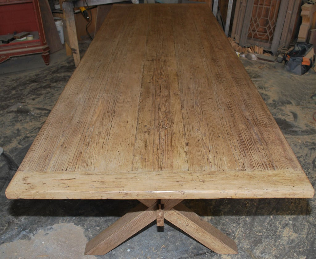 This vintage heart pine table has fabulous patina and is fully collapsible. Note how the apron fits together for perfect stability while still collapsible. Each piece can be ordered separately, the table can be purchased for $9,500 and the benches