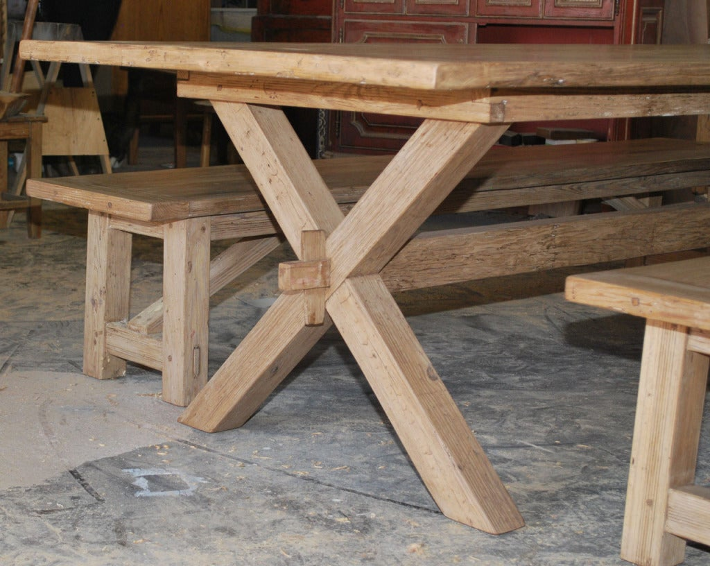 Custom X Trestle Table with Matching Benches in Vintage Pine For