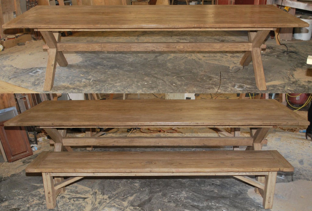 American X-Trestle Table with Matching Benches, Custom Made by Petersen Antiques For Sale