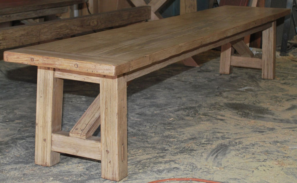 X-Trestle Table with Matching Benches, Custom Made by Petersen Antiques For Sale 1