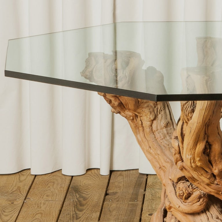 1950 39 S Cypress Root Dining Table With Smoked Glass Hexagon Top Image 2