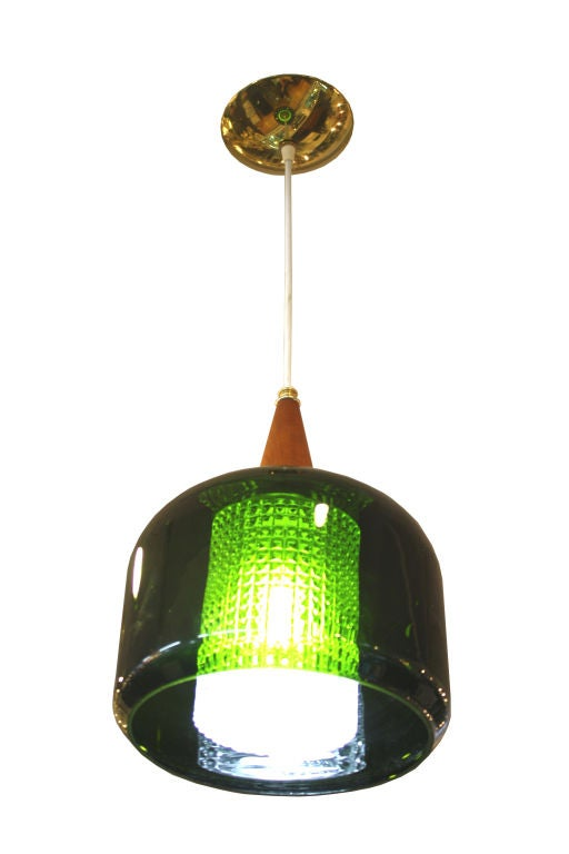 Mid Century Handblown Green Glass Pendant Light by Orrefors For Sale 1