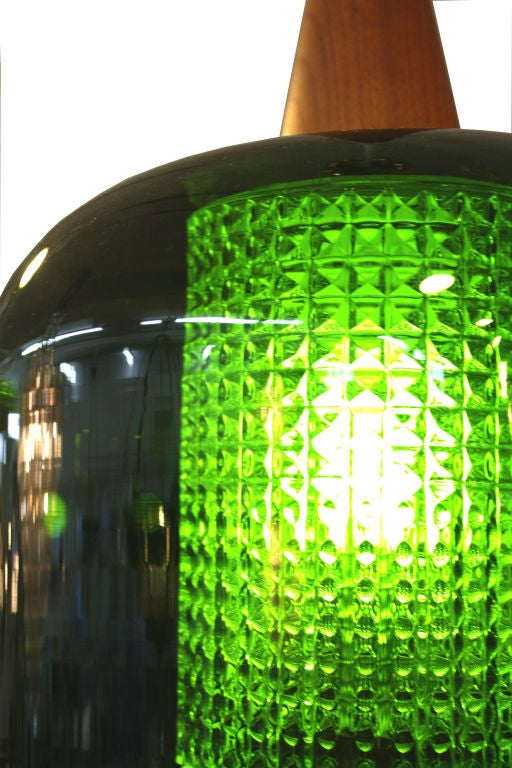 Mid Century Handblown Green Glass Pendant Light by Orrefors For Sale 2
