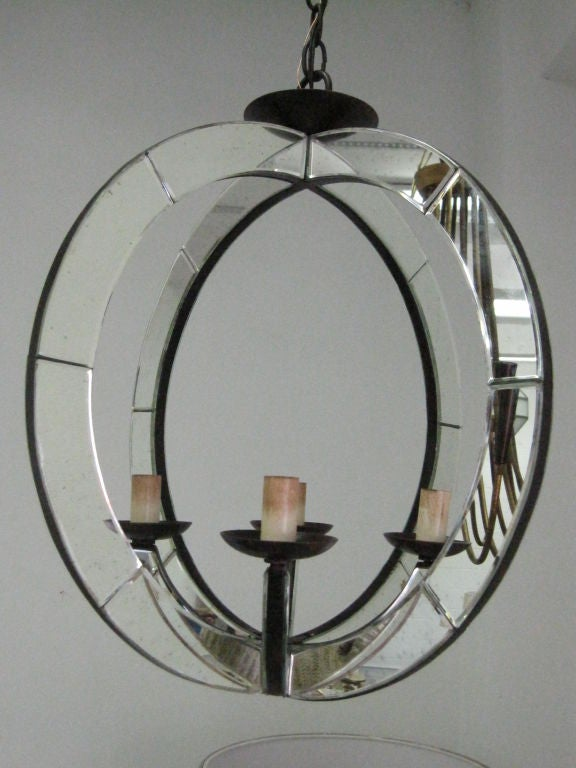 Two Italian Mid-Century Modern Style Spherical Mirrored Pendants In Excellent Condition For Sale In New York, NY
