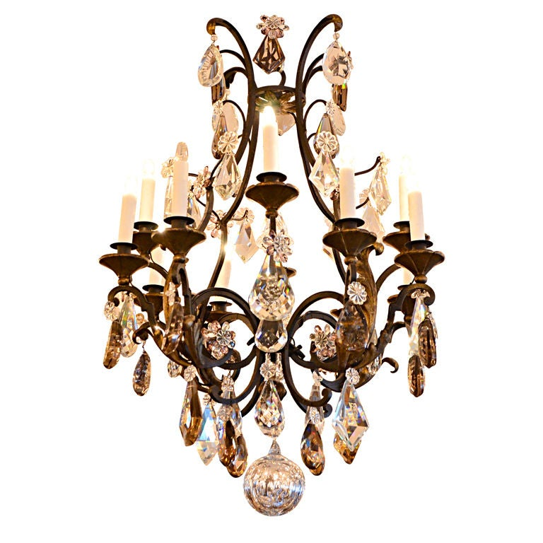 Iron Chandelierwith Tinted Crystal