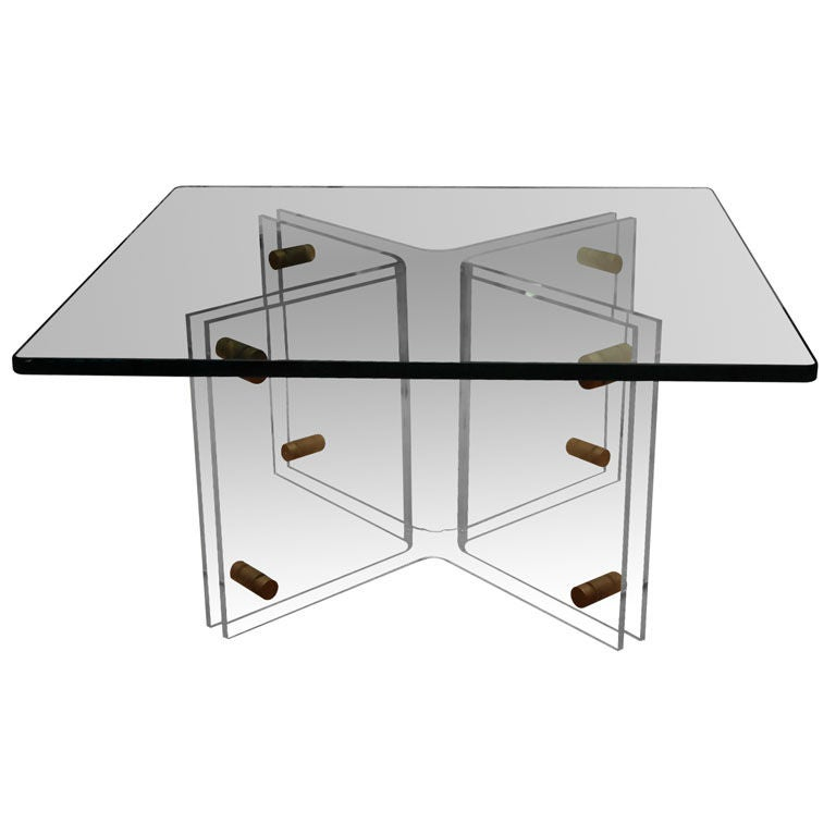 Lucite Base Table With Glass Top At 1stdibs