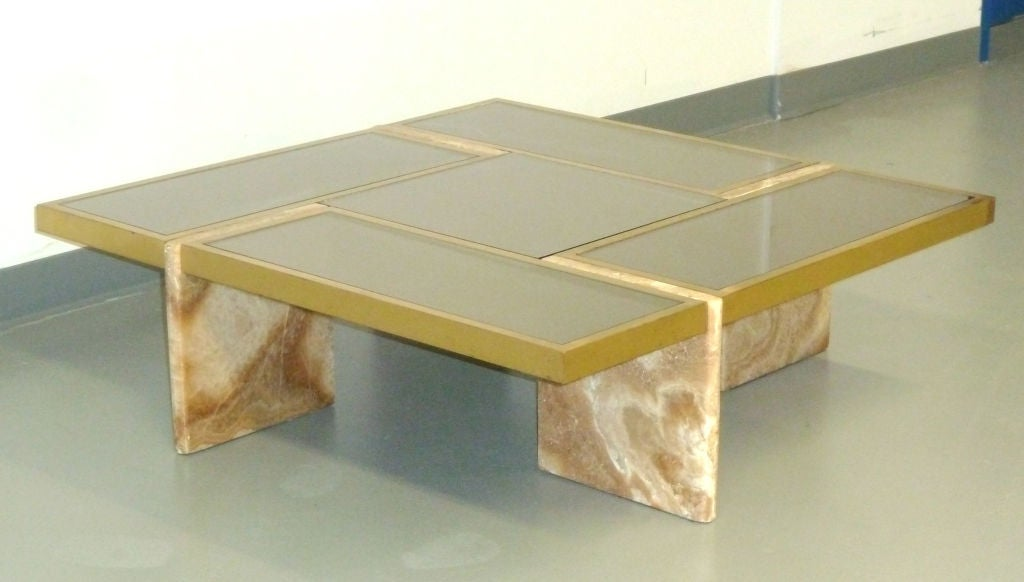 Travertine Base, Brass and Mirrored Glass Cocktail Table 2