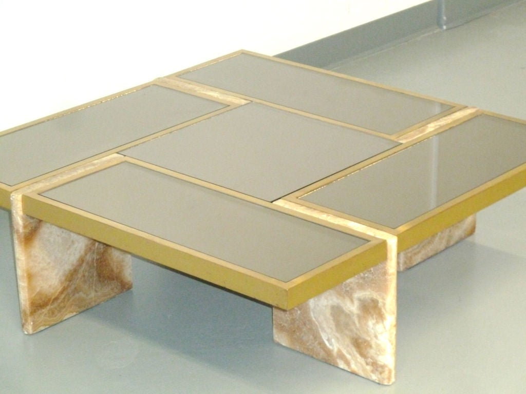 Travertine Base, Brass and Mirrored Glass Cocktail Table 3