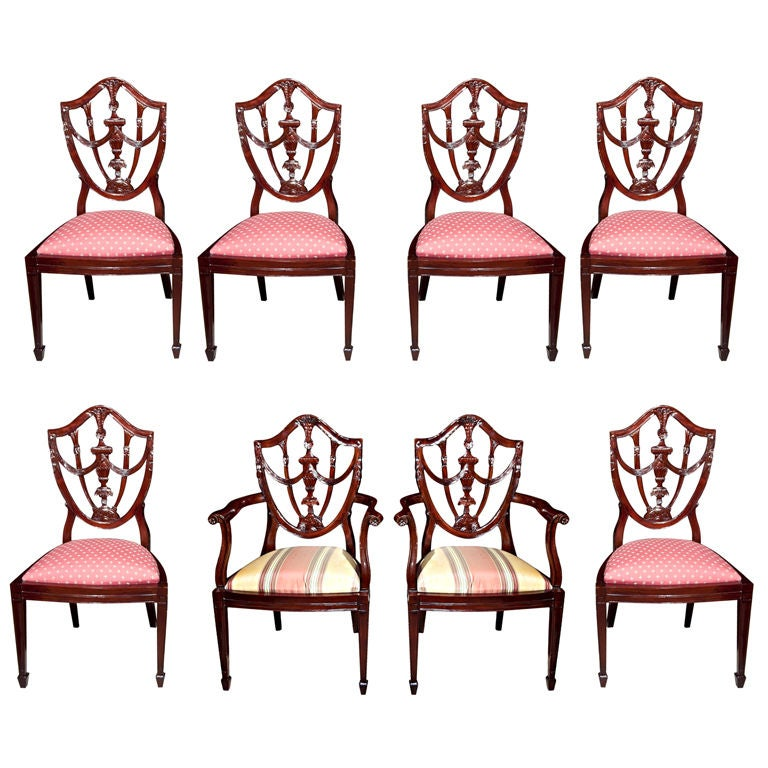 Set Of  8 Hepplewhite Style  Dining Chairs