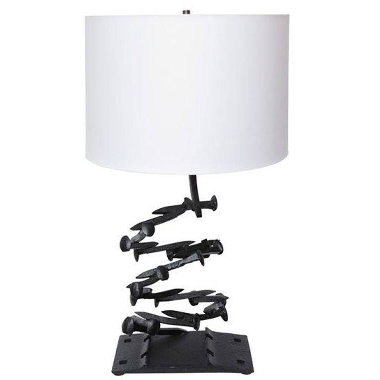 1960s Brutalist Iron Table Lamp