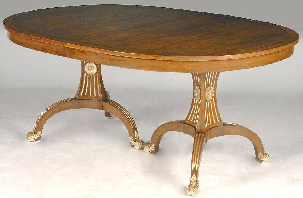 rare edward pashayan walnut and silver leaf dining table