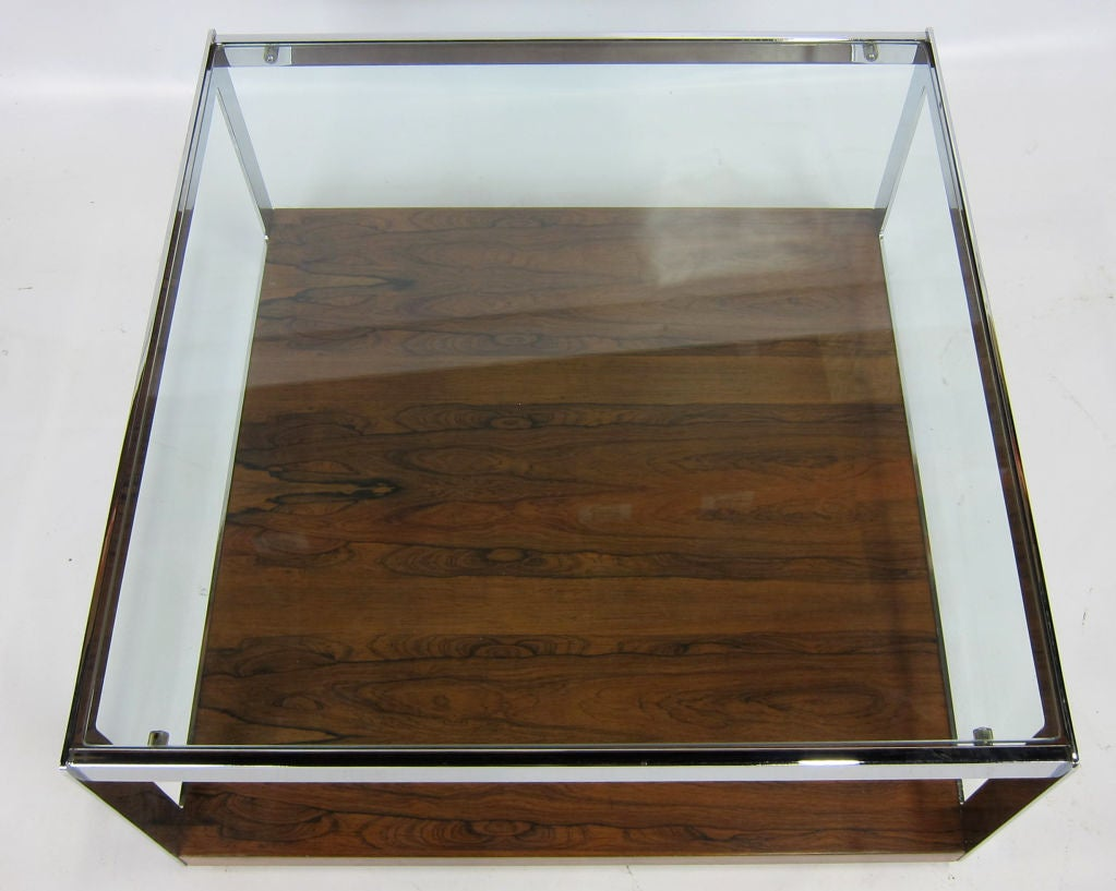 Modern Chrome and Rosewood Cocktail Table by Richard Young for Merrow Associates For Sale