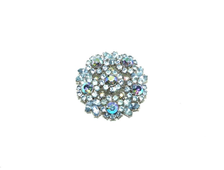 Beautiful light blue diamanté and Aurora Borealis stone set brooch and clip earrings set by American