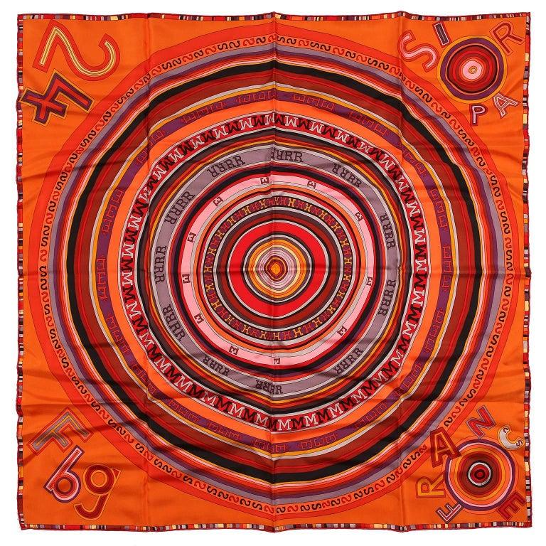 Hermès Orange Tohu Bohu 90 cm Silk Scarf