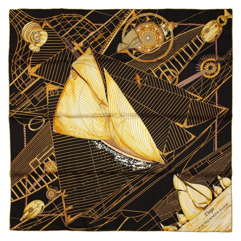 Hermès Black Tuiga Reissue 90 cm Silk Scarf