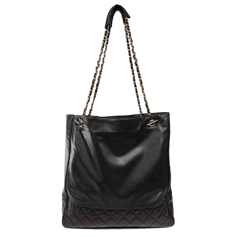 Chanel Vintage Black Leather Large Tote