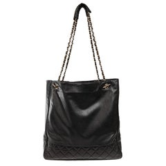 Chanel Black Leather Large Vintage Tote bag