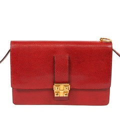 Hermès Vintage Red Lizard Medor Clutch