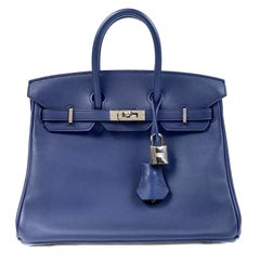 Hermès Sapphire Blue Swift  25 cm Birkin Bag with Palladium Hardware