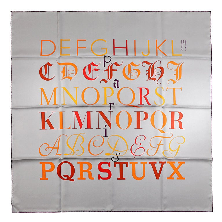 Hermès Grey Litterature Alphabet 90 cm Silk Scarf