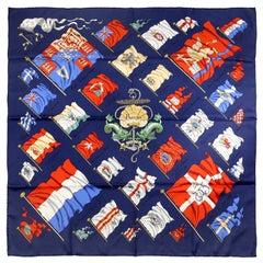 Hermès Pavois Dark Blue 90 cm Silk Scarf