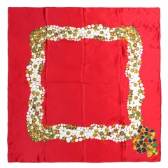 Chanel Red Silk Gripoix Design Scarf