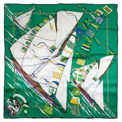 Hermès Green Claque au Vent 90 cm Silk Scarf