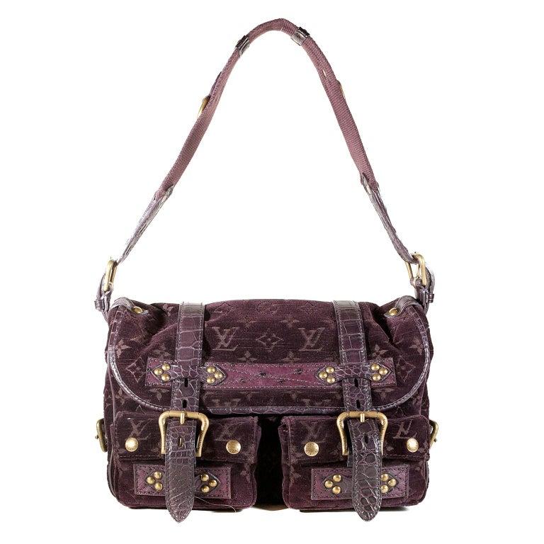 Louis Vuitton Eggplant Purple Monogram Velours Clyde Bag For Sale