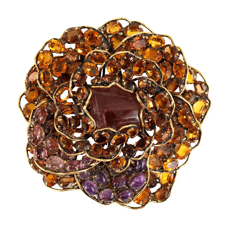 Iradj Moini Crystal Flower Large Brooch For Sale