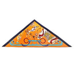 Hermès Tout En Carre Orange Silk Triangle Scarf