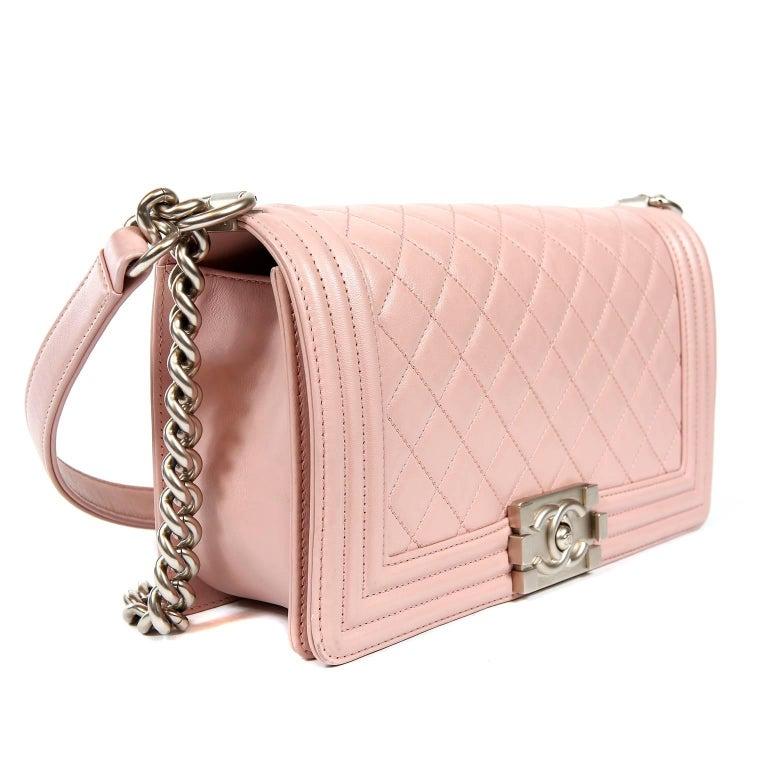 Beige Chanel Blush Pink Leather Medium Boy Bag For